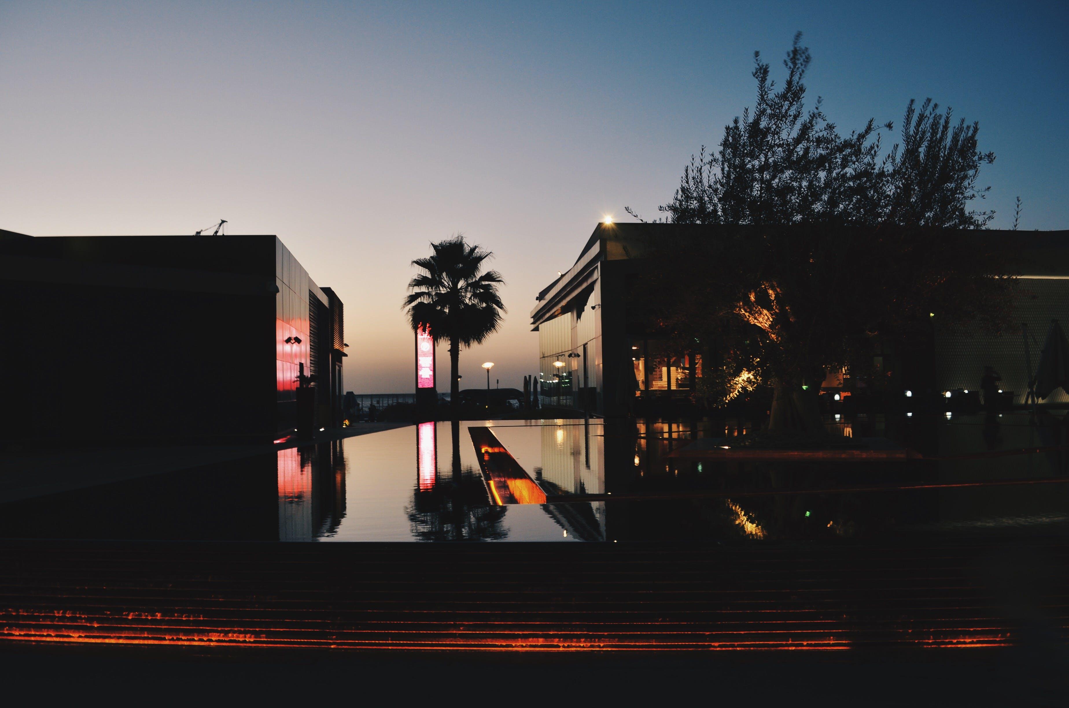Free stock photo of night, evening, pool, dubai