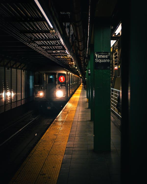 Grey Train during Night Time