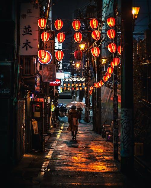 Immagine gratuita di camminando, illuminato, lanterne giapponesi, notte