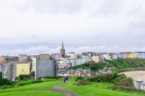 Free stock photo of aesthetically pleasing, beach, church spire, coastal town