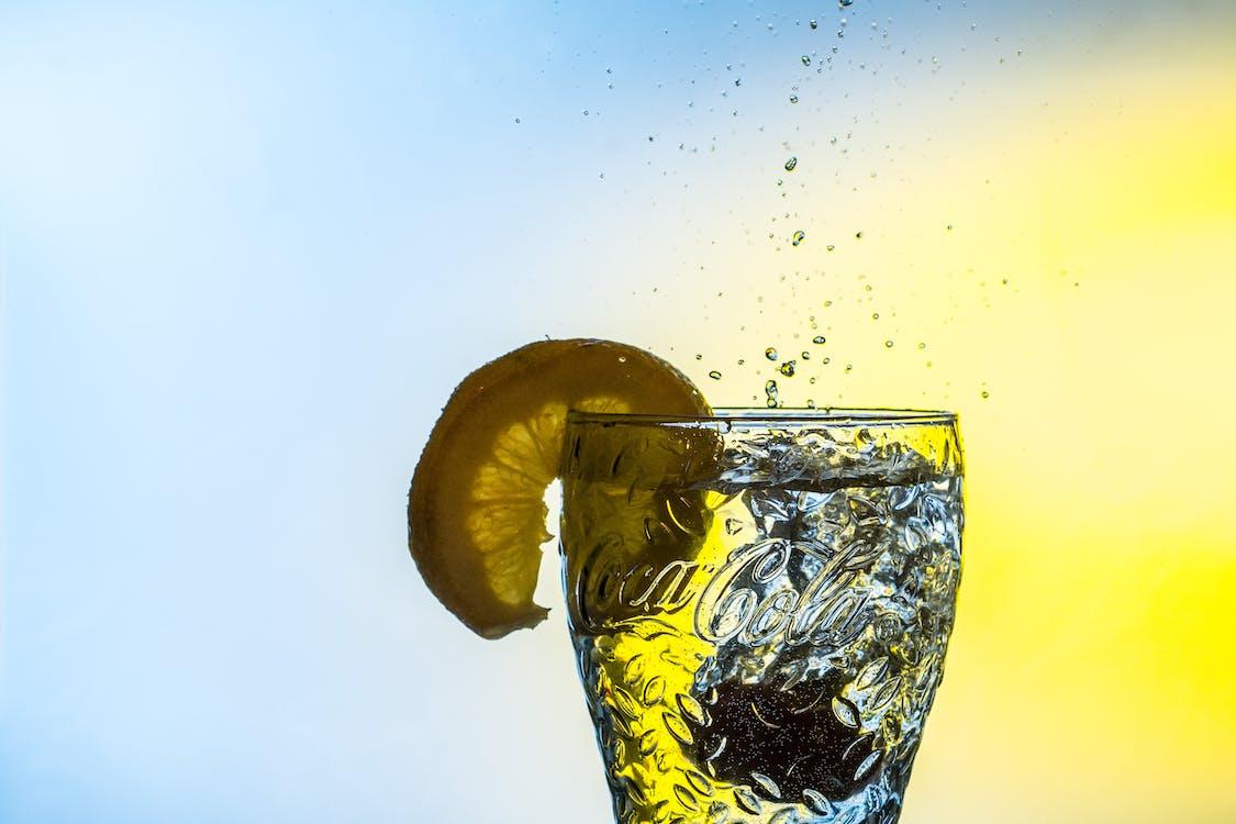 Sliced Lemon on Clear Glass