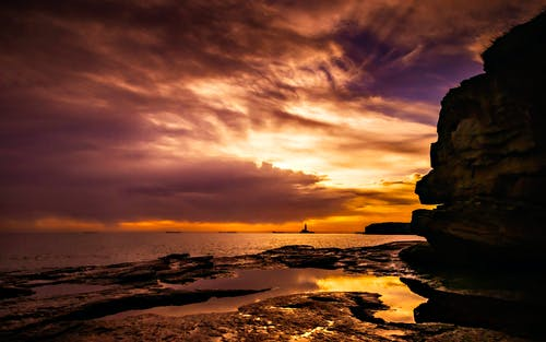 Rocky Shore During Sunset