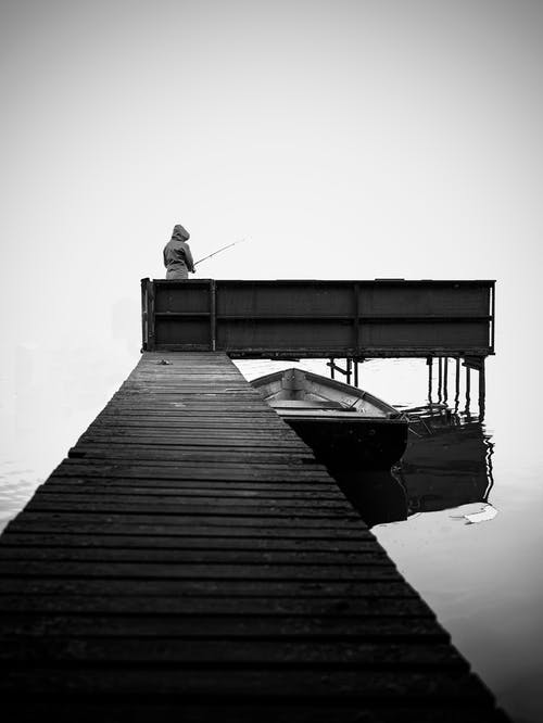 Person Fishing on Dock