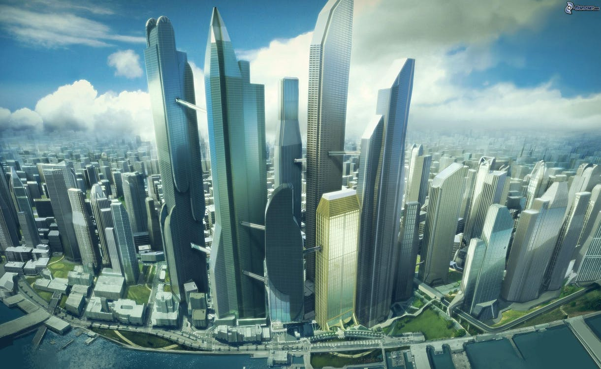 Ingyenes stockfotó felhőkarcolók, futurisztikus témában
