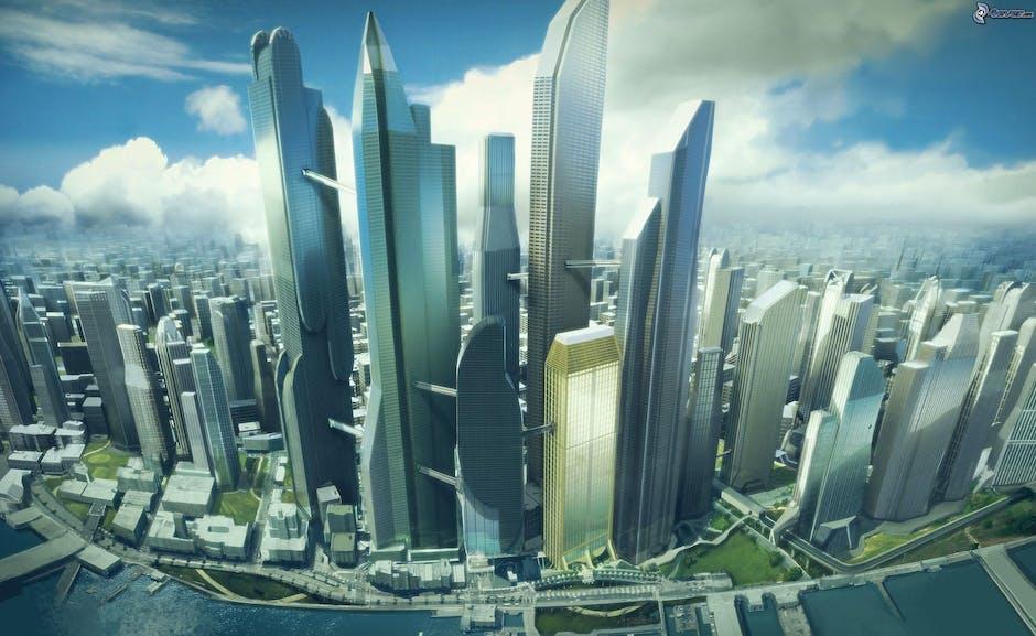 futuristic, skyscrapers