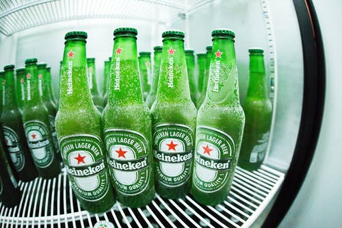 Green Heineken Bottle in Refrigerator