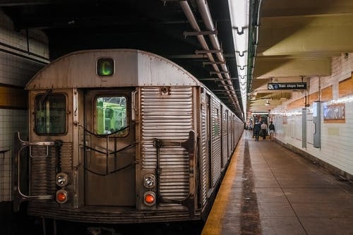 Gray Train in Subway Station
