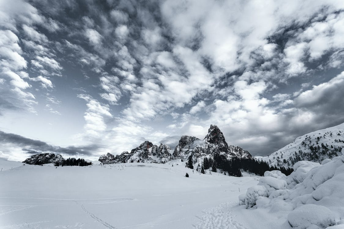 Snow Field With Mountain