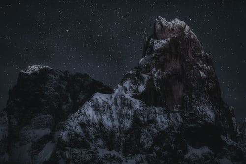 Mountain Peaks During Night Time