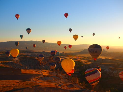 Multicolored Hot Air Balloons