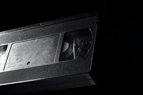 Grayscale Photography of Vhs Tape
