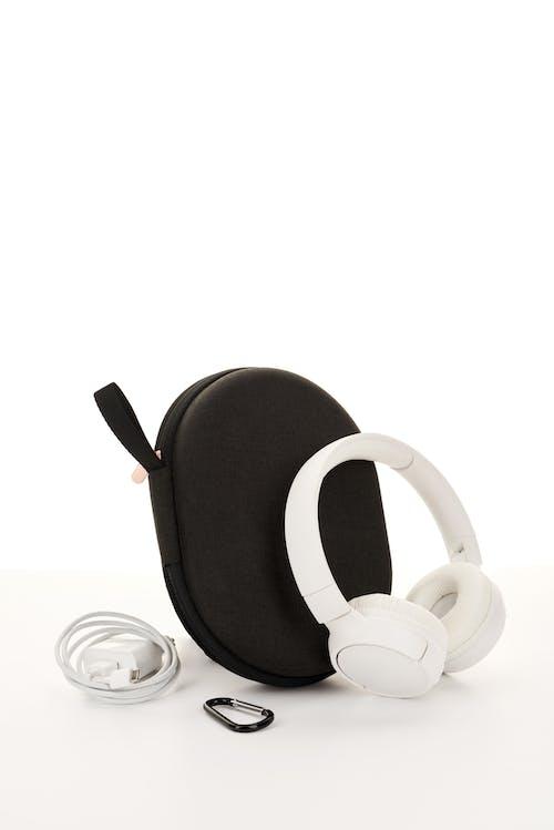 White Cordless Headphones With Bag
