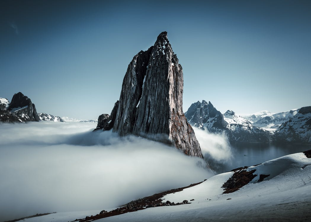 Aerial Photography of a Snowy Mountain