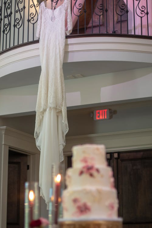 Free stock photo of bridal gown, bride, cake
