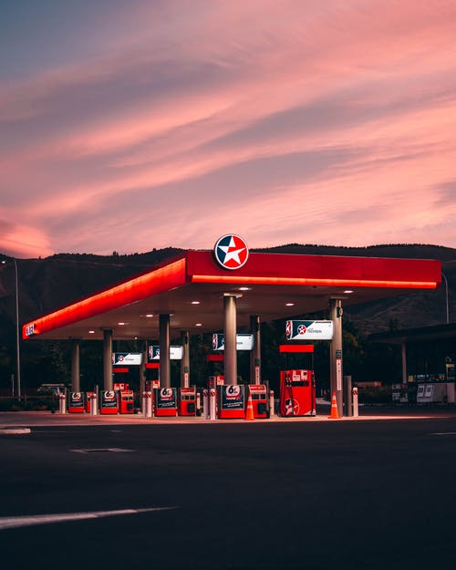 Red Caltex Gas Station during Golden Hour