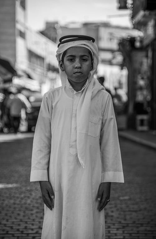 Grayscale Photo of Boy in Kurta Dress