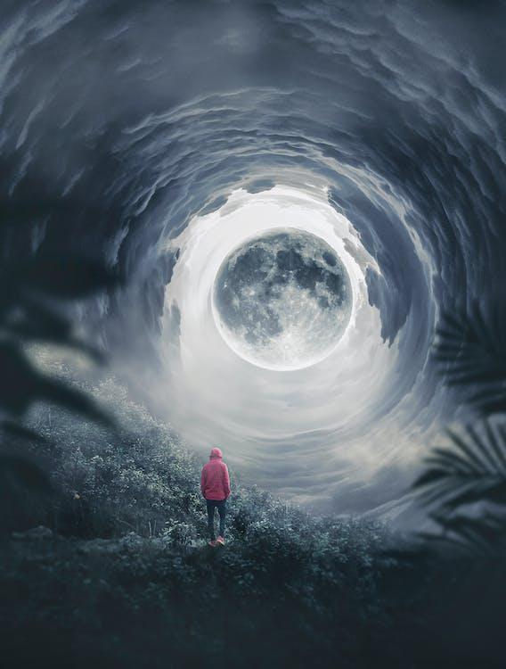 Imagine de stoc gratuită din fotografie mobilă, iluzie, luna
