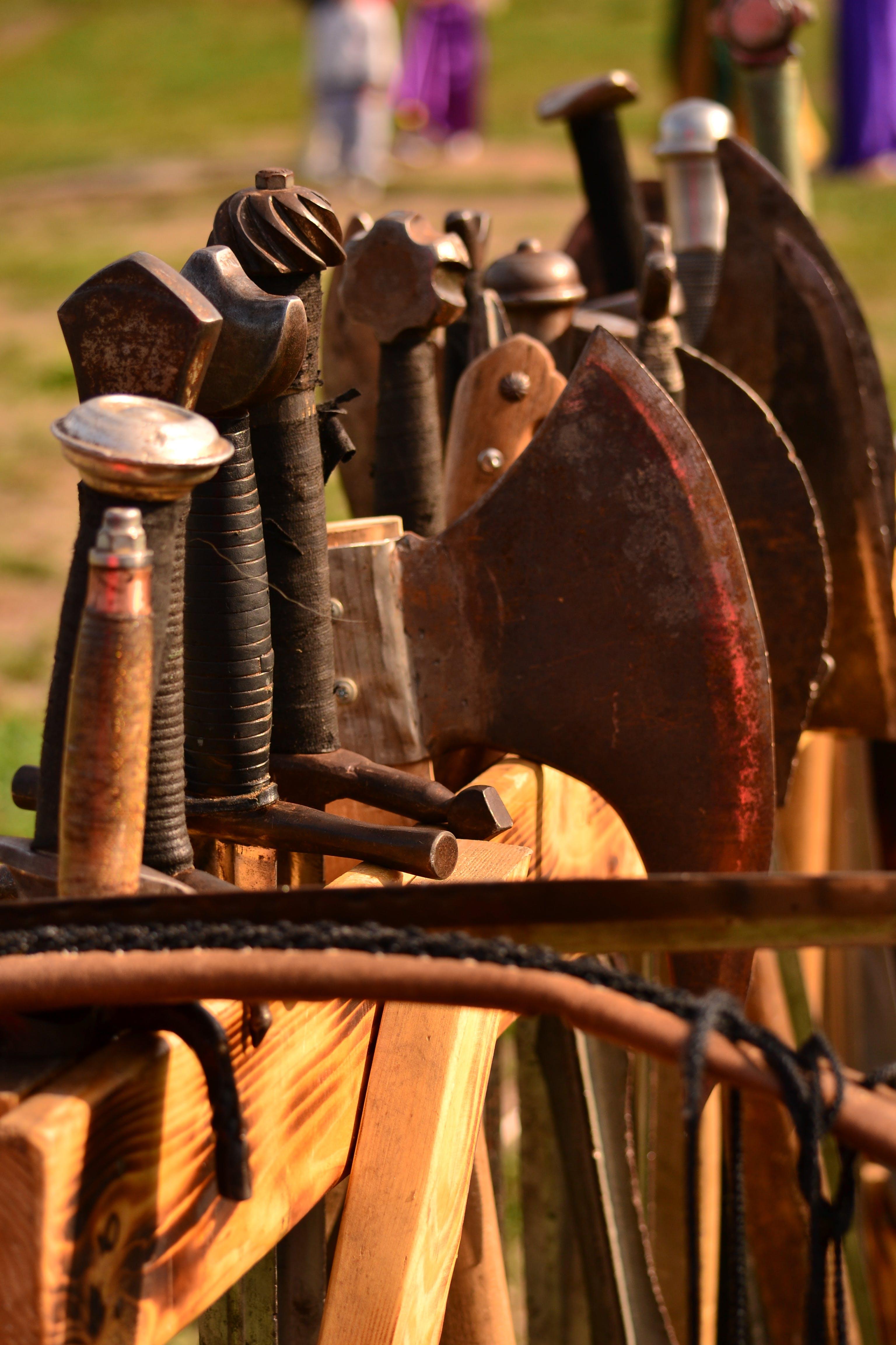 Free stock photo of axe, bow, crossbow, iron