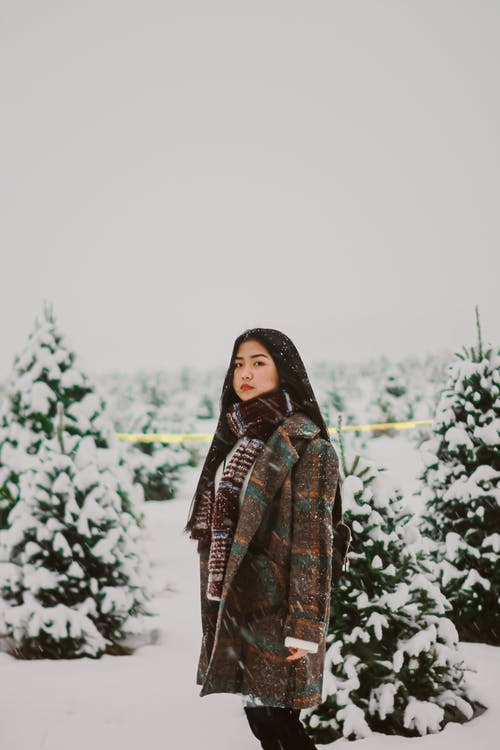 Woman Wearing Gray and Green Coat Standing on Snowy Field
