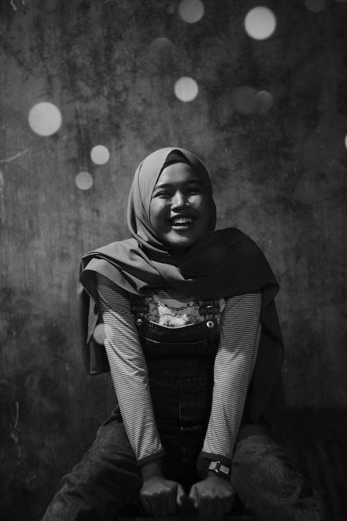 Greyscale Photo of Woman Wearing Hijab
