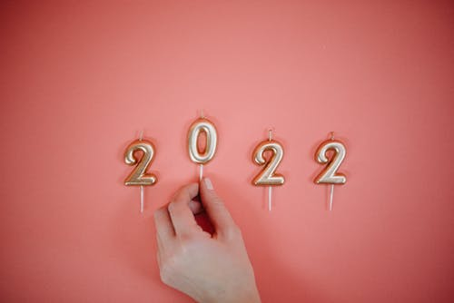 2022, 골드, 년, 분홍색 배경의 무료 스톡 사진