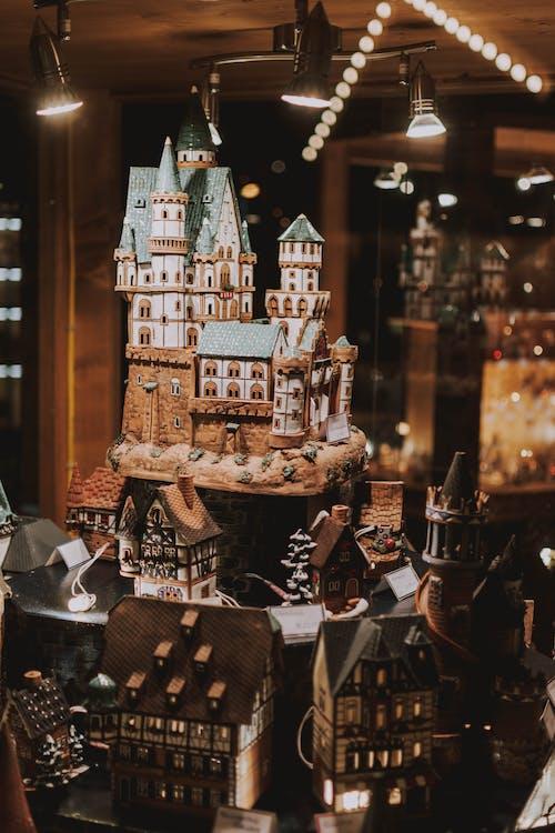 Handmade miniatures of castles in souvenir store