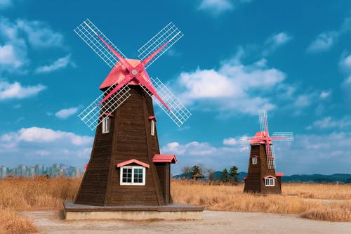 Brown and Red Wind Mill