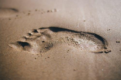 Kostnadsfri bild av fotavtryck, närbild, sand