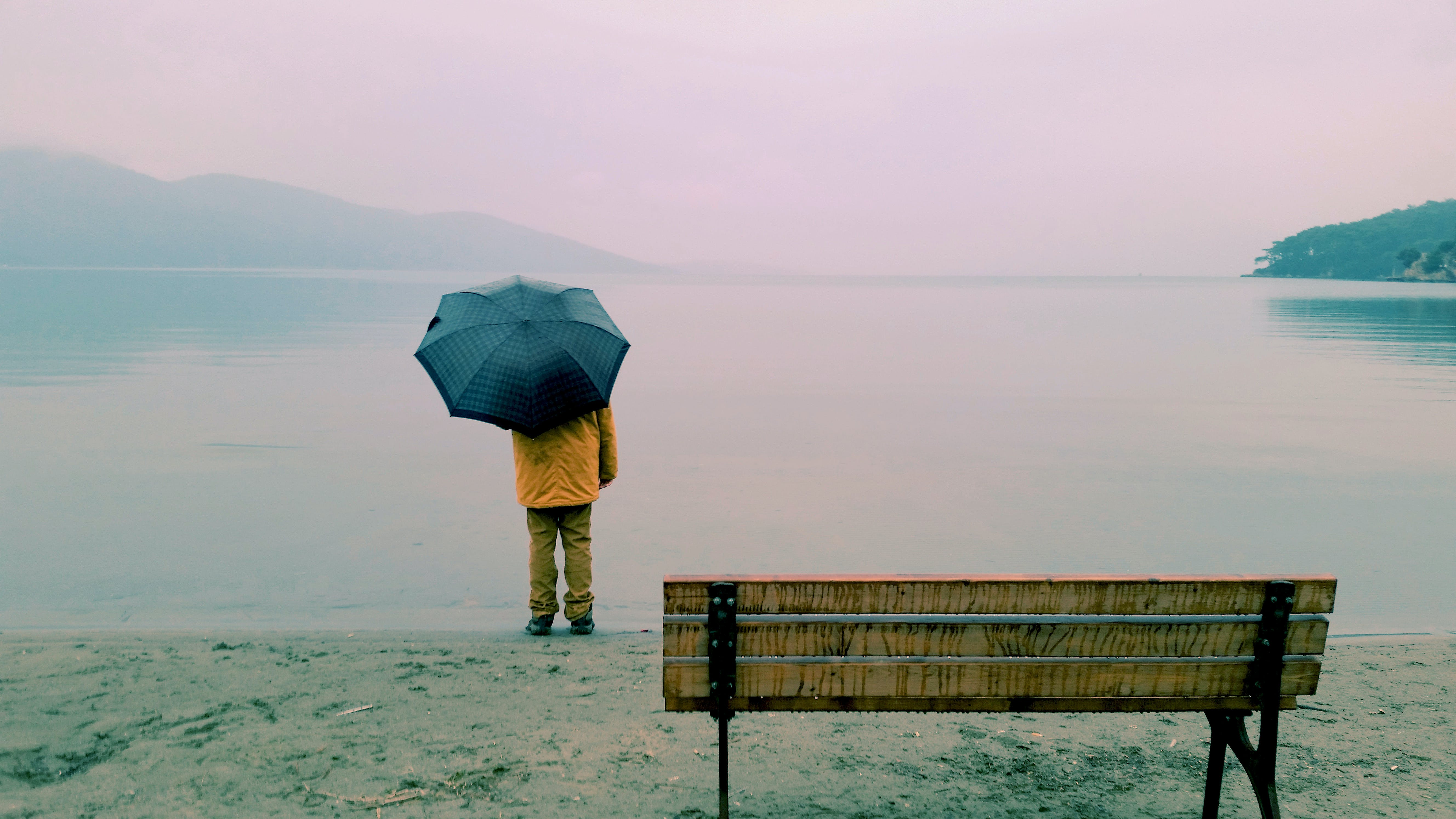 Person Standing Near Body of Water and Bench