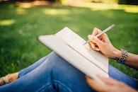 woman, hand, notebook