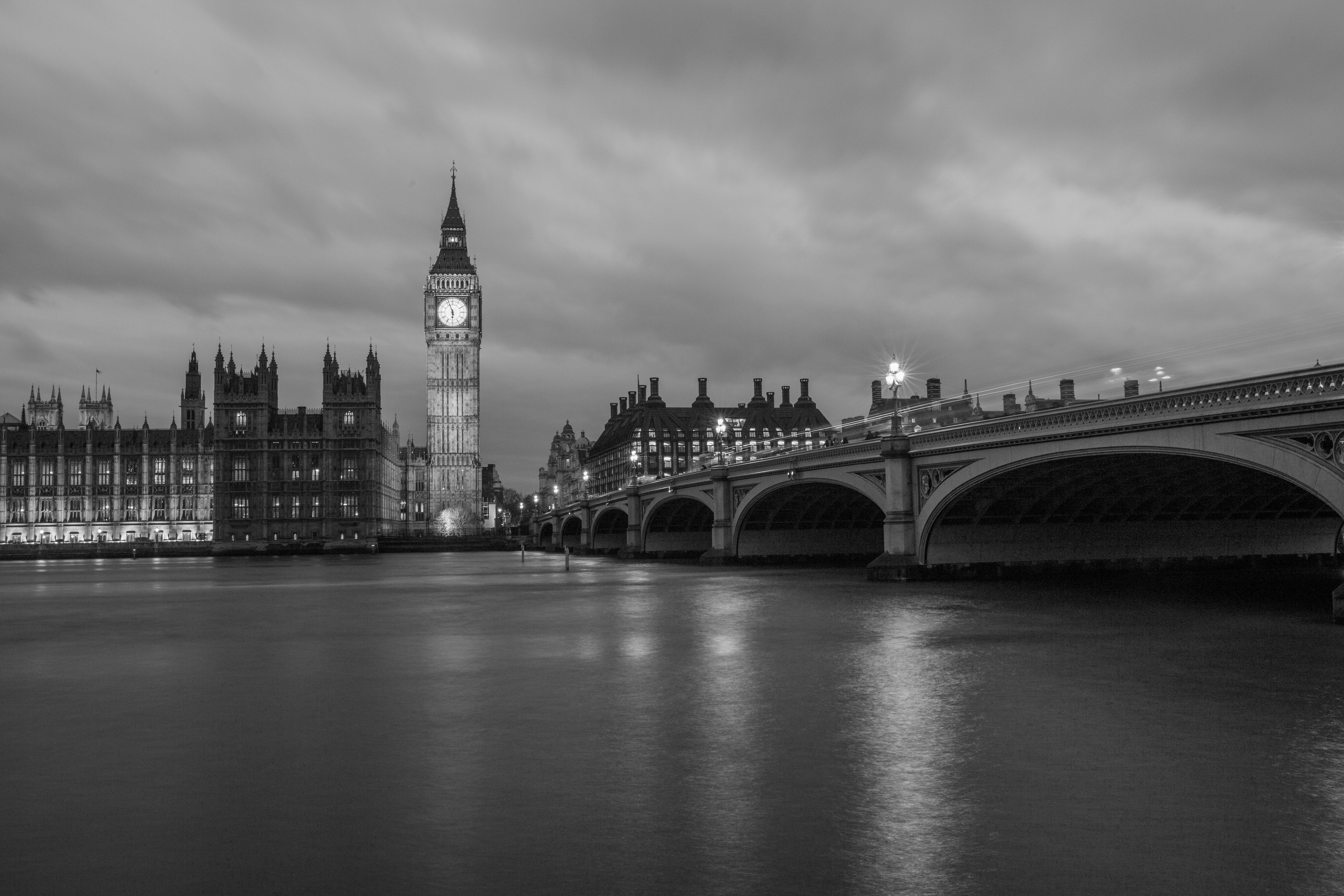 big ben, black-and-white, bridge