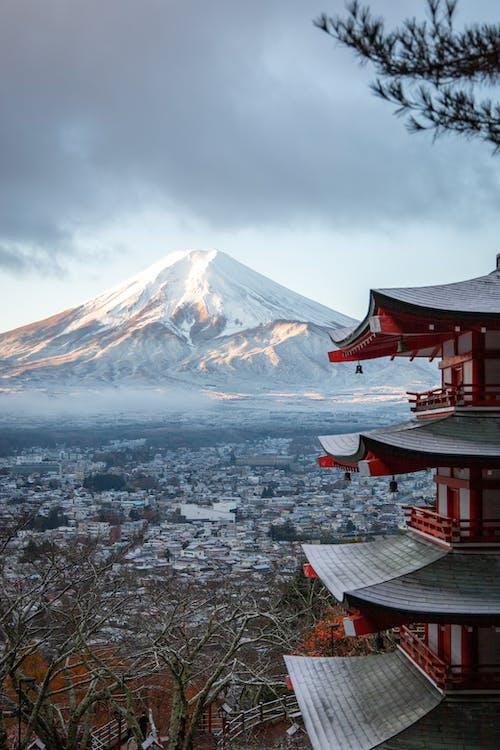 Бесплатное стоковое фото с архитектура, вулкан, голые деревья, гора
