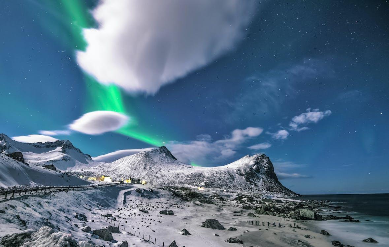 abend, aurora polaris, berge