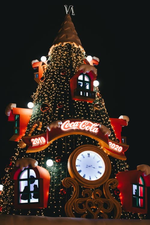 Big Coca-cola Christmas Tree With Decorations during Night Time