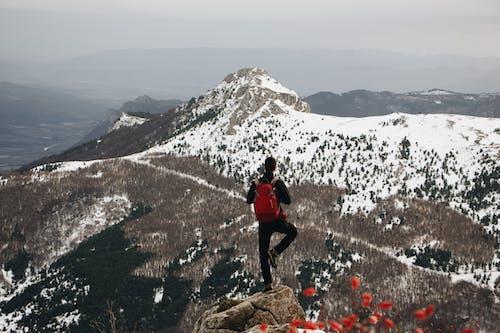 Man Doing One-leg Standing Post on Cliff