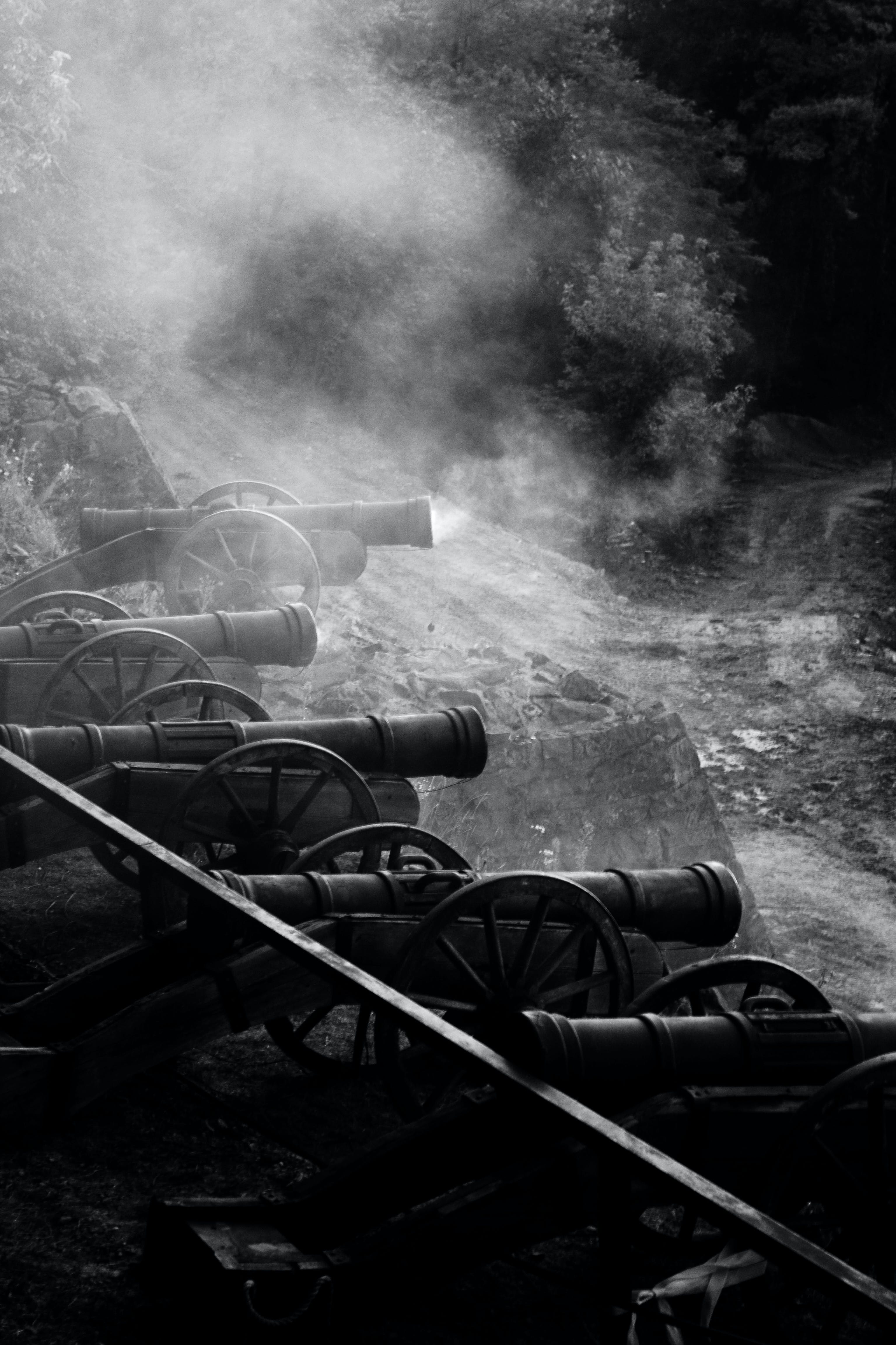 Free stock photo of battle, black and white, cannon, canon