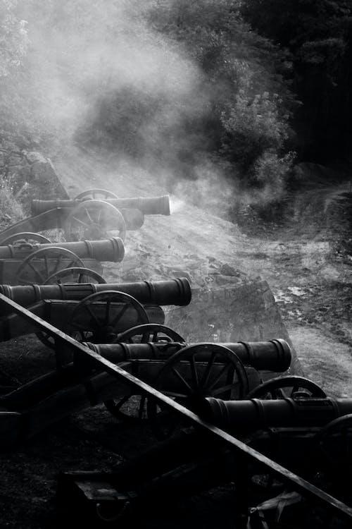 Základová fotografie zdarma na téma bitva, canon, černobílá