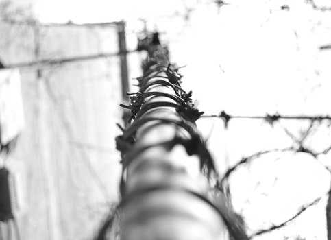 Free stock photo of fence, depression, barbed wire, black and white