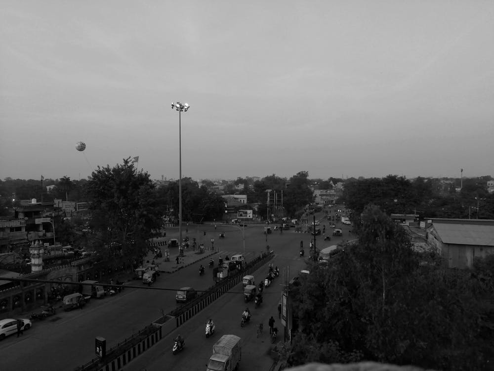 black and white, city, evening