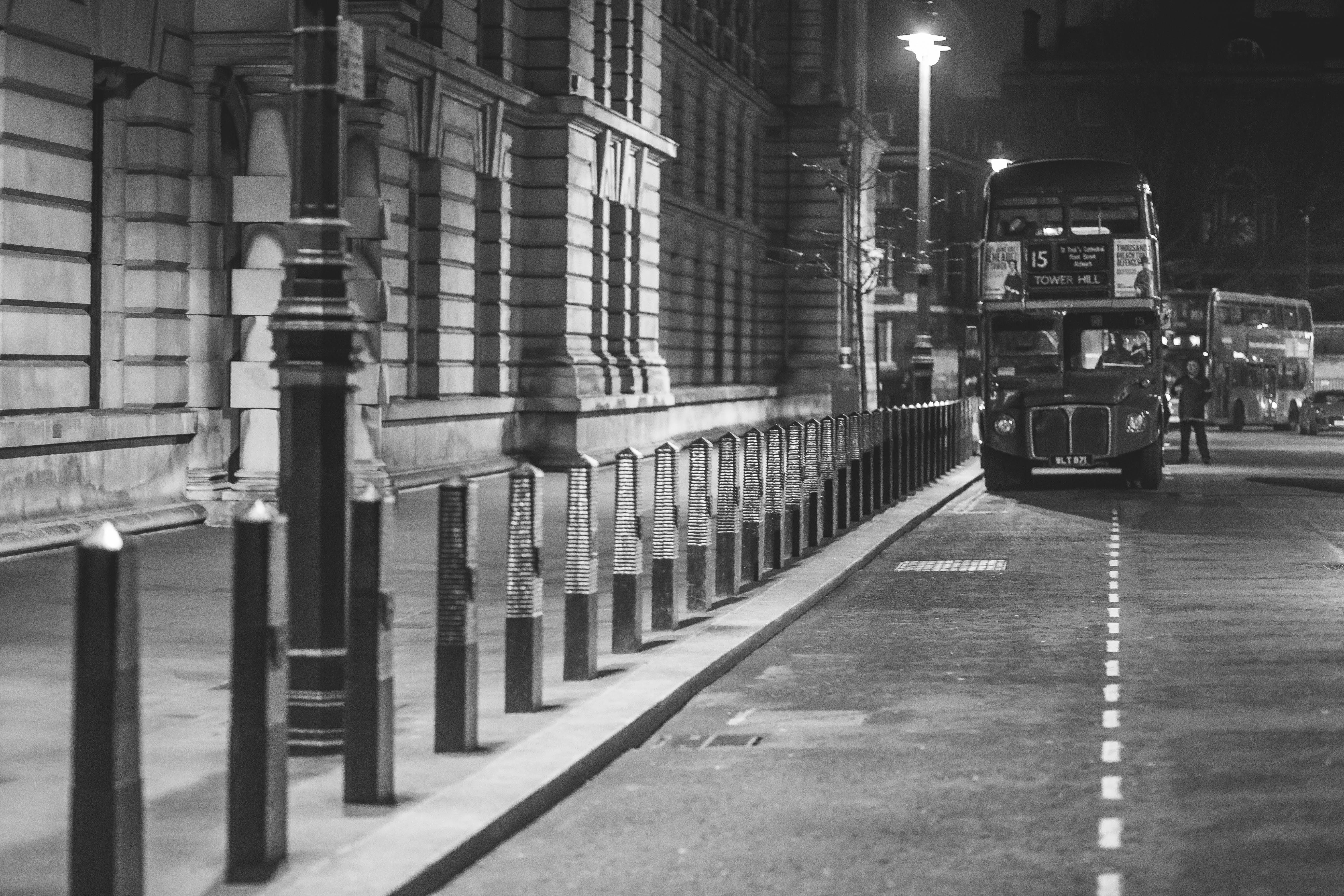 black-and-white, city, double-decker bus