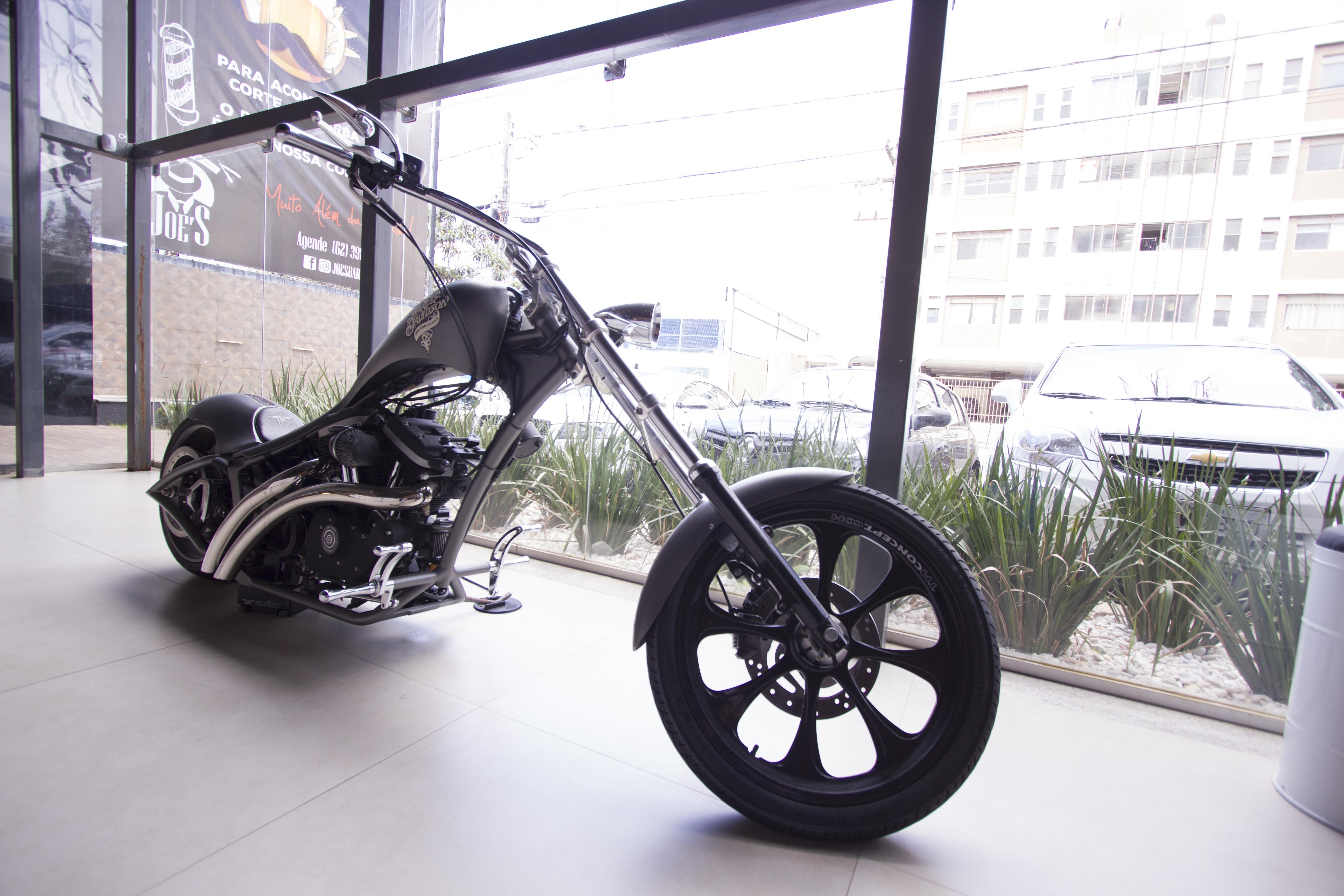 Parked Black Bobber Motorcycle