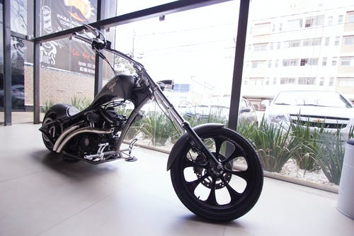 Parked Black Bobber Motorcycle