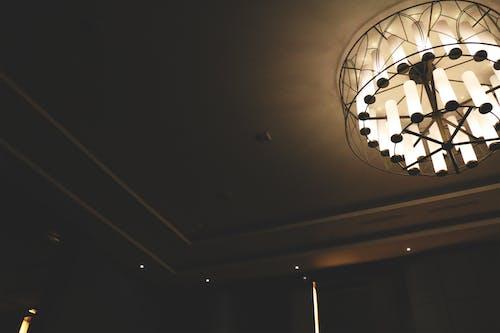 Free stock photo of atap, aula, ceiling lamp, faded