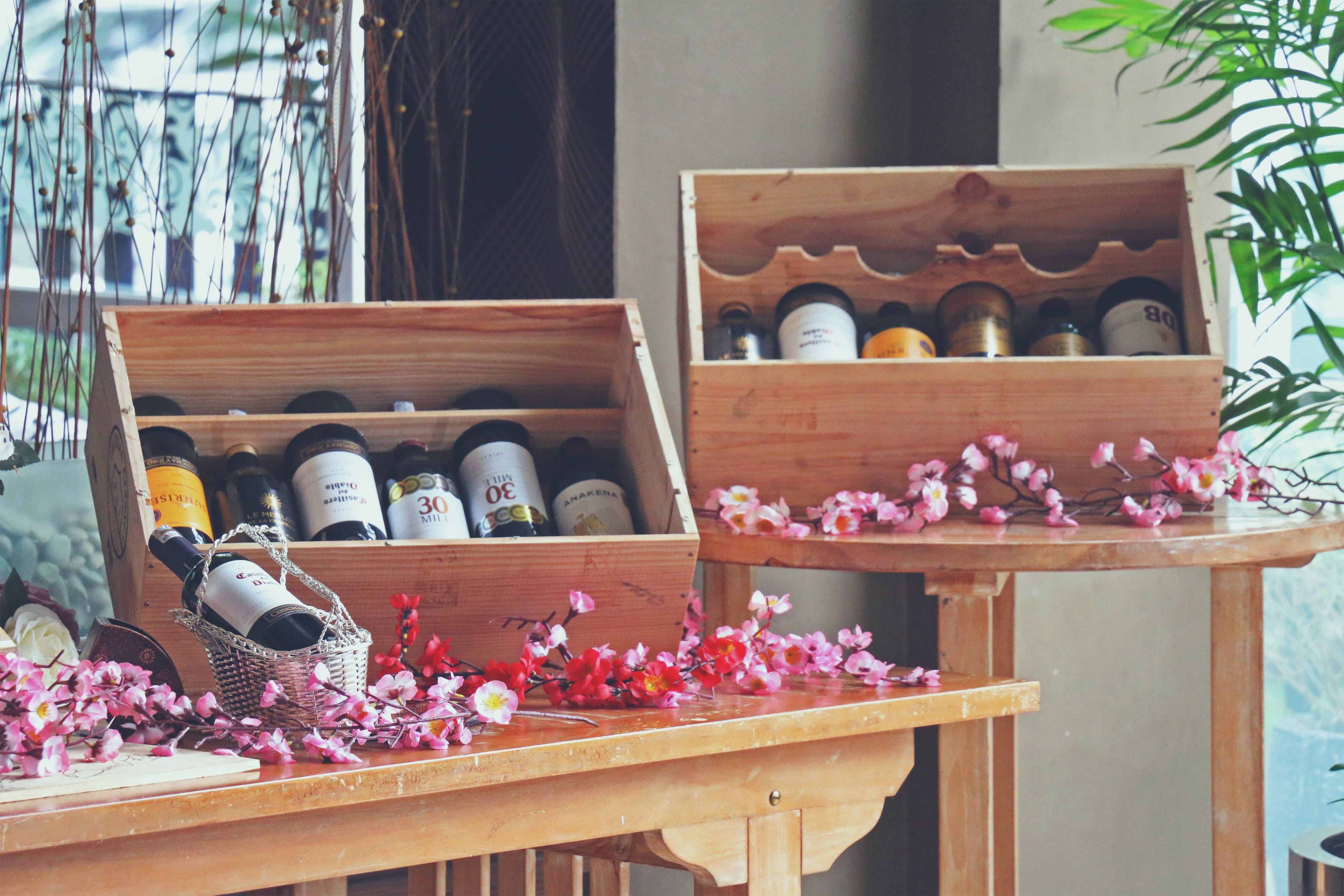 Free stock photo of alcohol bottles, exhibition, flowers, indonesia