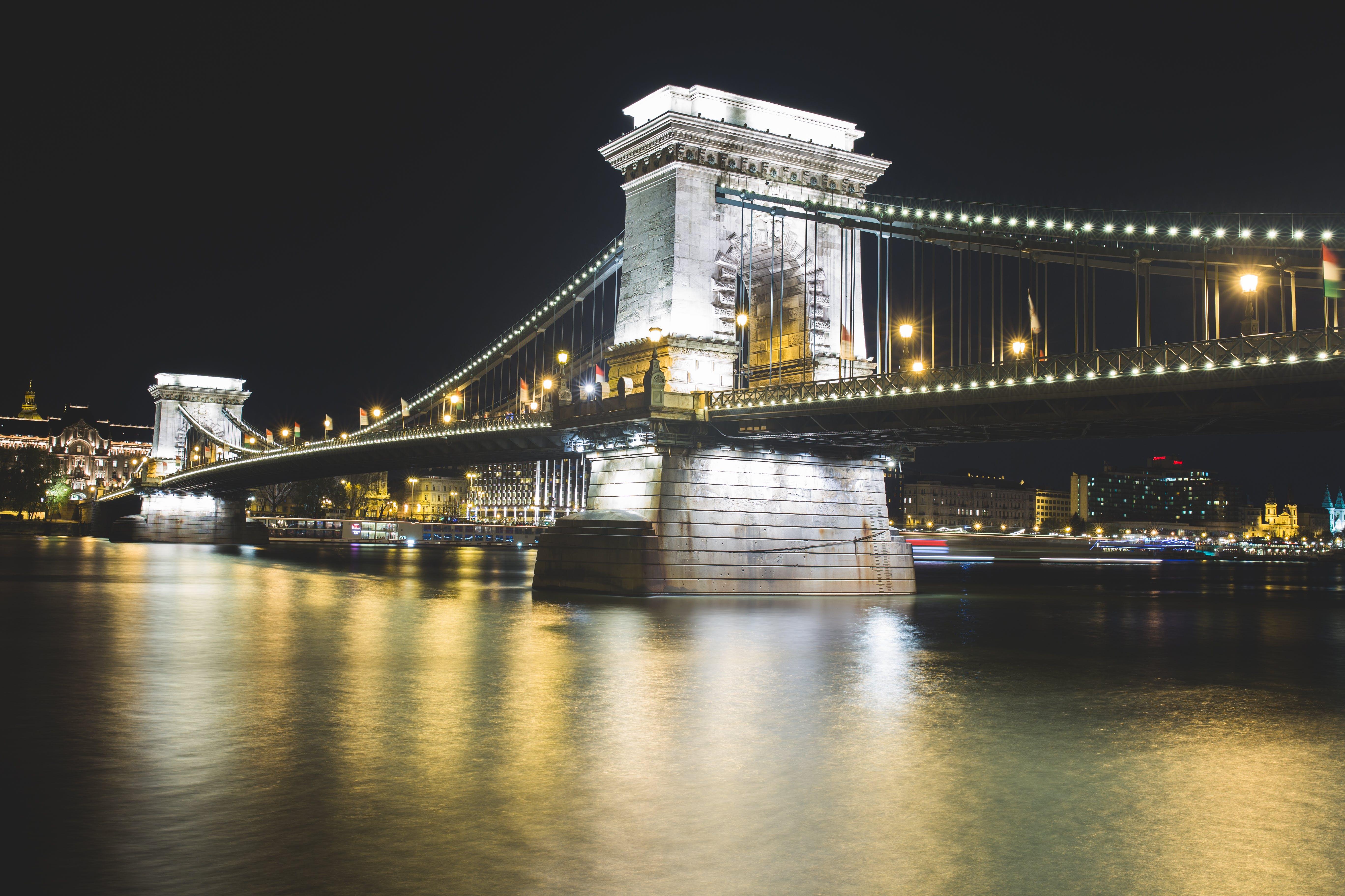 bridge, lights, night