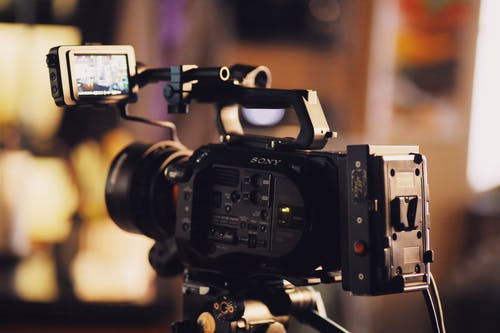 Selective Focus Photography of Black Sony Video Camera