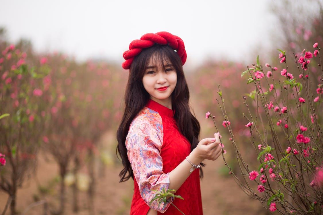 blomstre, jente, smile