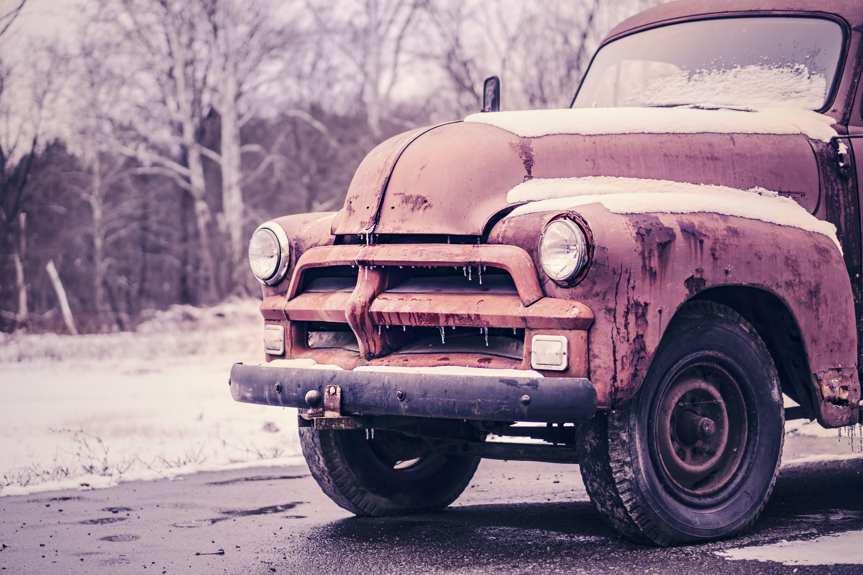 car, classic, frozen