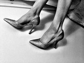 black-and-white, woman, shoes