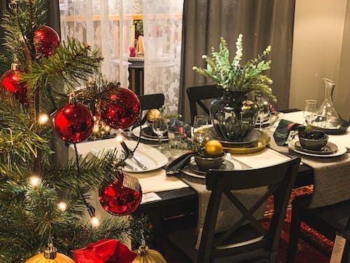 Imagine de stoc gratuită din arbore, beculețe, cadouri, cină